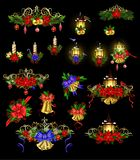 Big Christmas decoration with street light. Big Christmas decoration set with street lamps candles and evergreen leaves and decor Stock Photos