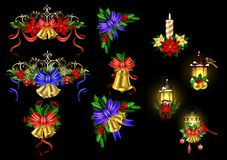 Big Christmas decoration with street light. Big Christmas decoration set with street lamps candles and evergreen leaves and decor Stock Photography