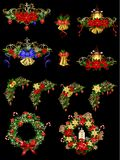 Big Christmas decoration with street light. Big Christmas decoration set with street lamps candles and evergreen leaves and decor Royalty Free Stock Photography