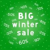 Big Christmas discounts winter sales background stock illustration