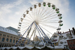 Big Christmas Ferris wheel on town square Royalty Free Stock Photo