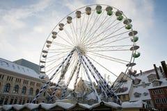 Big Christmas Ferris wheel on town square royalty free stock photo