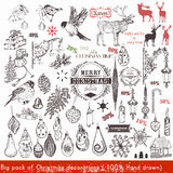 Big Christmas hand drawn elements set Xmas decorations for desi Royalty Free Stock Photo