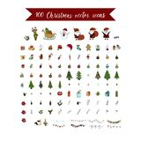 Big Christmas icon set. 100 winter icons. Big Christmas icon set. 100 winter  handdrawn icons. Vector logo, emblems, designs. Usable for banners, greeting cards Stock Photo