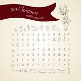 Big Christmas icon set. 100 winter icons. Big Christmas icon set. 100 winter  handdrawn icons. Vector logo, emblems, designs. Usable for banners, greeting cards Royalty Free Stock Photos