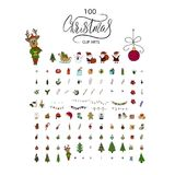 Big Christmas icon set. 100 winter icons. Big Christmas icon set. 100 winter  handdrawn icons. Vector logo, emblems, designs. Usable for banners, greeting cards Royalty Free Stock Image