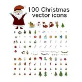 Big Christmas icon set. 100 winter icons. Big Christmas icon set. 100 winter  handdrawn icons. Vector logo, emblems, designs. Usable for banners, greeting cards Stock Image
