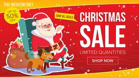 Big Christmas Sale Banner With Happy Santa Claus. Vector. Business Advertising Illustration. Template Design For Web Royalty Free Stock Image