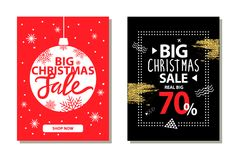 Big Christmas Sale Banners with Decorative Ball. Button shop now vector illustration isolated on red and black backgrounds with xmas decorative elements Royalty Free Stock Image