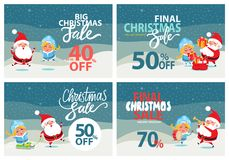 Big Christmas Sale Clearance Vector Illustration. Big Christmas sale clearance set of posters with Santa Claus and Snow Maiden under snowfall. Vector Stock Photography