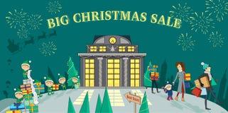 Big Christmas Sale Glowing Shop Stock Image