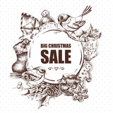 Big Christmas Sale greeting card with Hew Year Royalty Free Stock Images