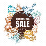 Big Christmas Sale greeting card with New Year Royalty Free Stock Photo