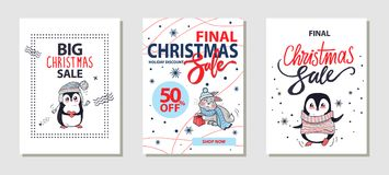 Big Christmas Sale Posters Vector Illustration. Big Christmas sale, holiday discount and shop now, posters made up of titles and icons of penguins and rabbit Stock Images