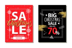 Big Christmas Sale 70 on Vector Illustration. Big Christmas sale 70 , for limited time only, shop now, posters with snowflakes and titles, circles and strokes royalty free illustration