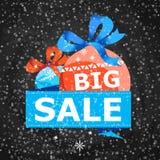 Big Christmas sale vector illustration. Big Christmas sale poster with christmas balls on snowy background. Retail marketing promo, season advertising campaign Royalty Free Stock Photos