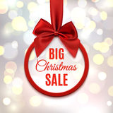 Big Christmas sale, round banner with red ribbon. Royalty Free Stock Photos