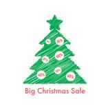 Big christmas sale with scribble fir tree Stock Image