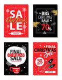 Really Big Christmas Sale Vector Illustration. Really big Christmas sale, shop now for limited time only, banners with headlines, brushes and icon of cup and Stock Image