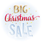 Big Christmas sale sign, bright and colorful. Design template for banners, brochures, flyers and so. Stock Image