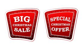 Big christmas sale and special christmas offer on retro red bann Royalty Free Stock Image