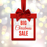 Big Christmas sale, square banner in form of gift. Stock Photos