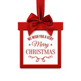 Big Christmas sale, square banner in form of gift with. Stock Photo