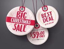 Big christmas sale tags vector set with white and red tag price color hanging Royalty Free Stock Photography