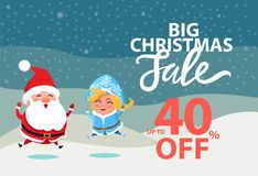 Big Christmas Sale Up to 40 off Wintertime Poster. With Santa Claus and Snow Maiden. Vector illustration with xmas discount clearance and winter symbols vector illustration