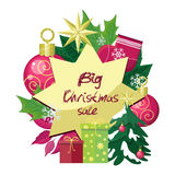 Big Christmas Sale Vector Flat Style Concept Stock Photos