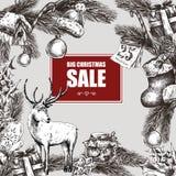 Big Christmas Sale, Vintage vector illustration Stock Images