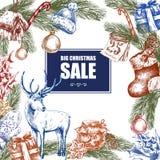 Big Christmas Sale, Vintage vector illustration Stock Photo