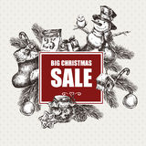 Big Christmas Sale, Vintage vector illustration Royalty Free Stock Photography