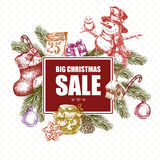 Big Christmas Sale, Vintage vector illustration Royalty Free Stock Image