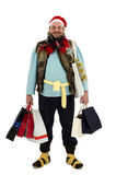 At big Christmas sales for tramp. Cheerful tramp posing at Christmas sales Stock Image