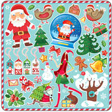 Big Christmas Set. All Christmas symbols in one set! Set contains: decoration, Christmas tree, stocking, gift box with bow, snowman, christmas bells, holly vector illustration