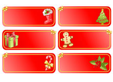 Big christmas set of banners. Big christmas set of red banners with christmas decorations Stock Photography