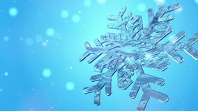 Big Christmas Snowflake With Snow Particles On stock video