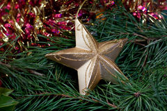 Big Christmas star and fir branches Royalty Free Stock Image