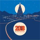 Big Christmas tree with city lights minimalistic vector illustration Royalty Free Stock Image