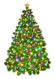 Big Christmas tree with colorful balls, toys. And decorations. Christmas lights. Vector illustration, eps 10 Royalty Free Stock Photography