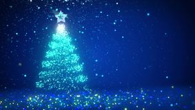 Blue big Christmas tree from glow shiny particles on the left side. Winter theme for Xmas background with copy space. 3d. Big Christmas tree from glow shiny stock footage