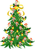 Big Christmas tree. The big Christmas tree which Santa Claus and children who made a figure of him gather for Royalty Free Stock Image