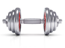 Big chrome dumbells Stock Image