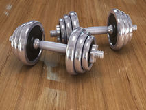 Big chrome dumbells Stock Photography