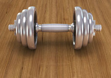 Big chrome dumbells Royalty Free Stock Photography