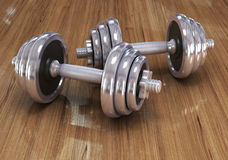 Big chrome dumbells Stock Photos