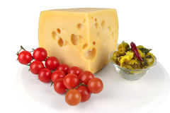 Big chunk of yellow cheese Stock Photography