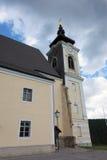 Big church on hill in Unterhoflein village Royalty Free Stock Photos