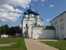 Big church. Russia church blue sky clouds summer sunny day Stock Photos